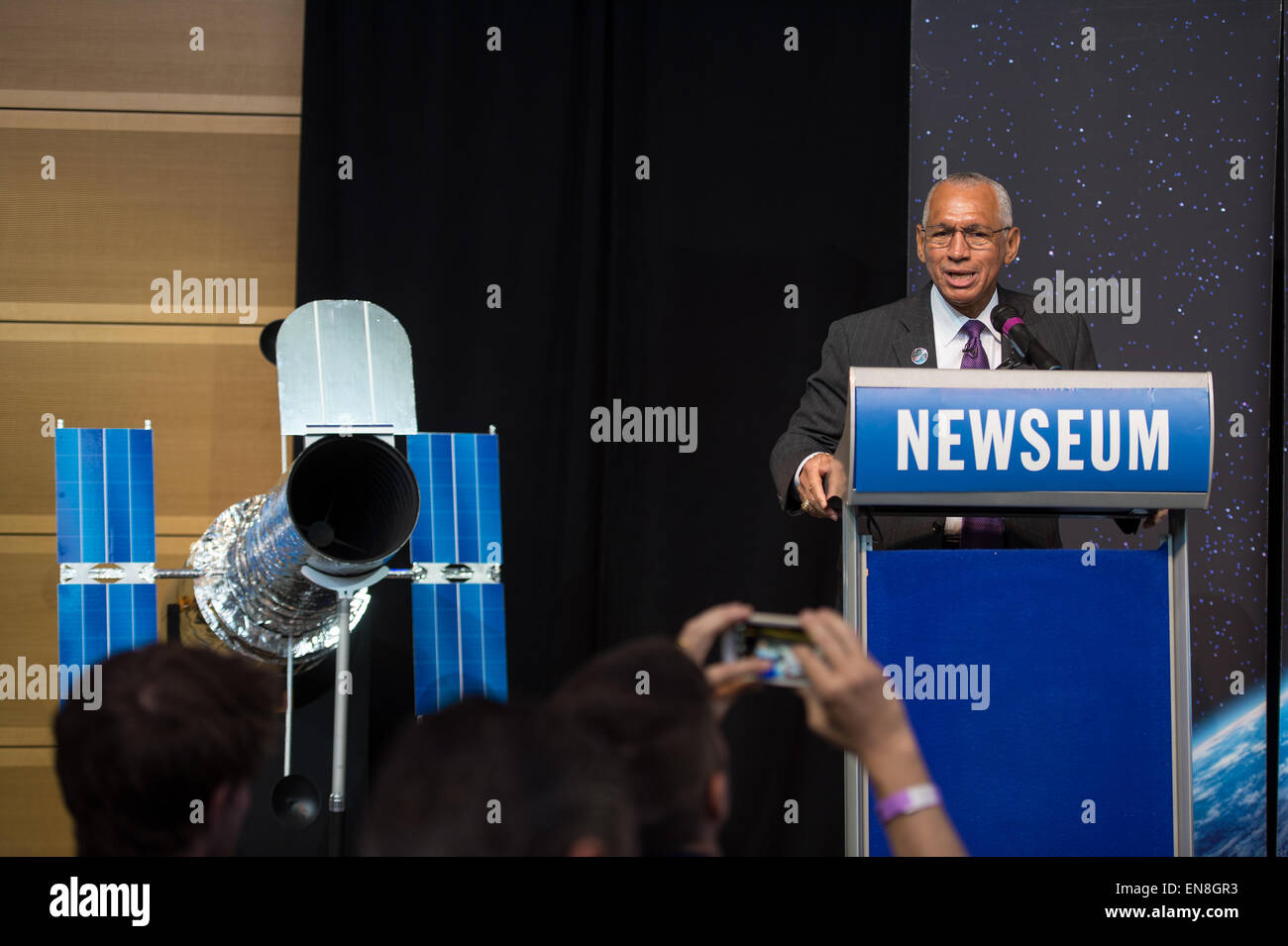 NASA Administrator Charles Bolden speaks at the Hubble 25th Anniversary official image debut event on Thursday, - Stock Image