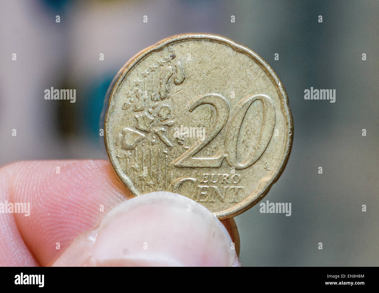 twenty euro cents coin - Stock Image