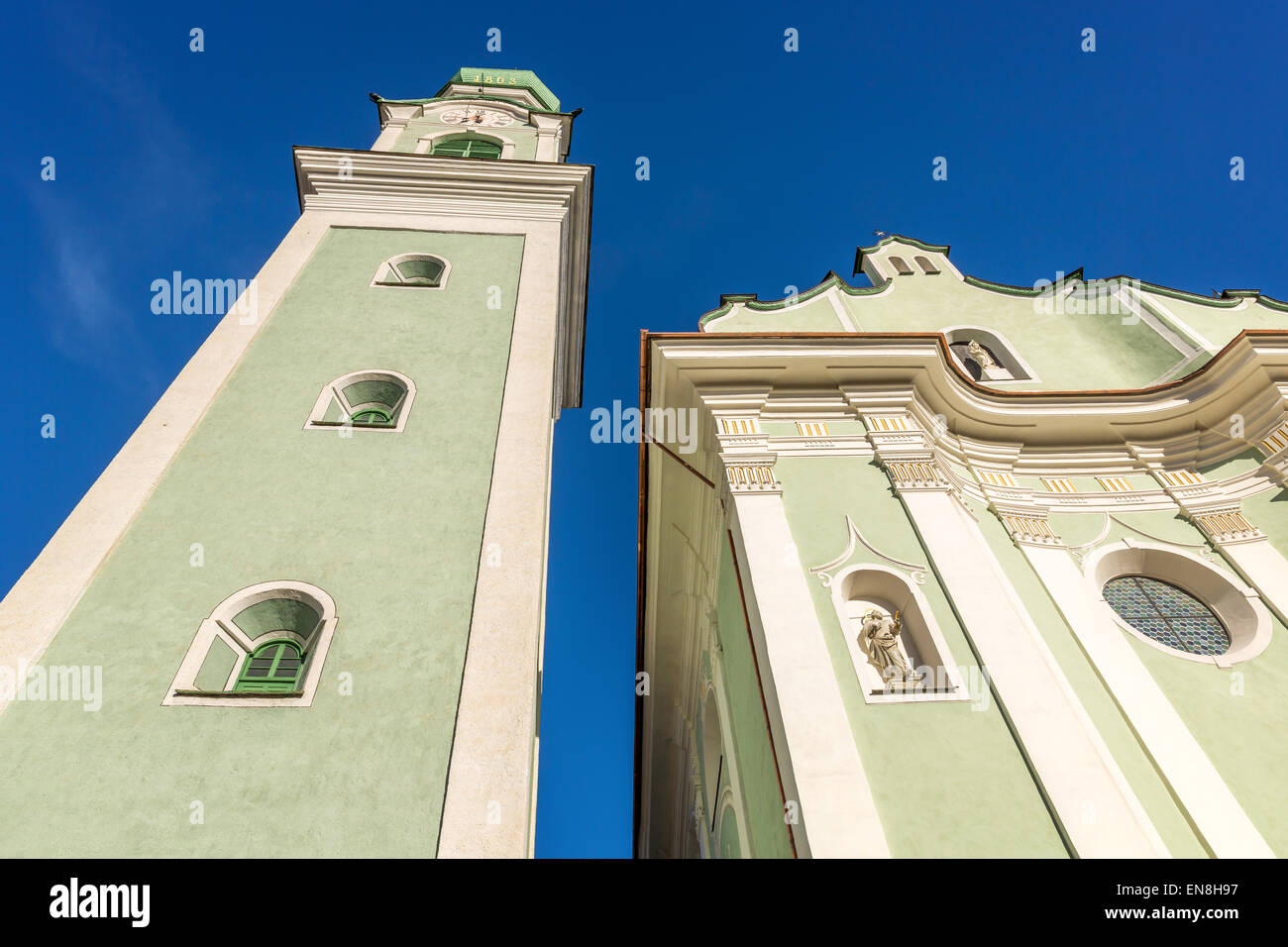 Church of St. John the Baptist Dobbiaco - Toblach, Italy - Stock Image