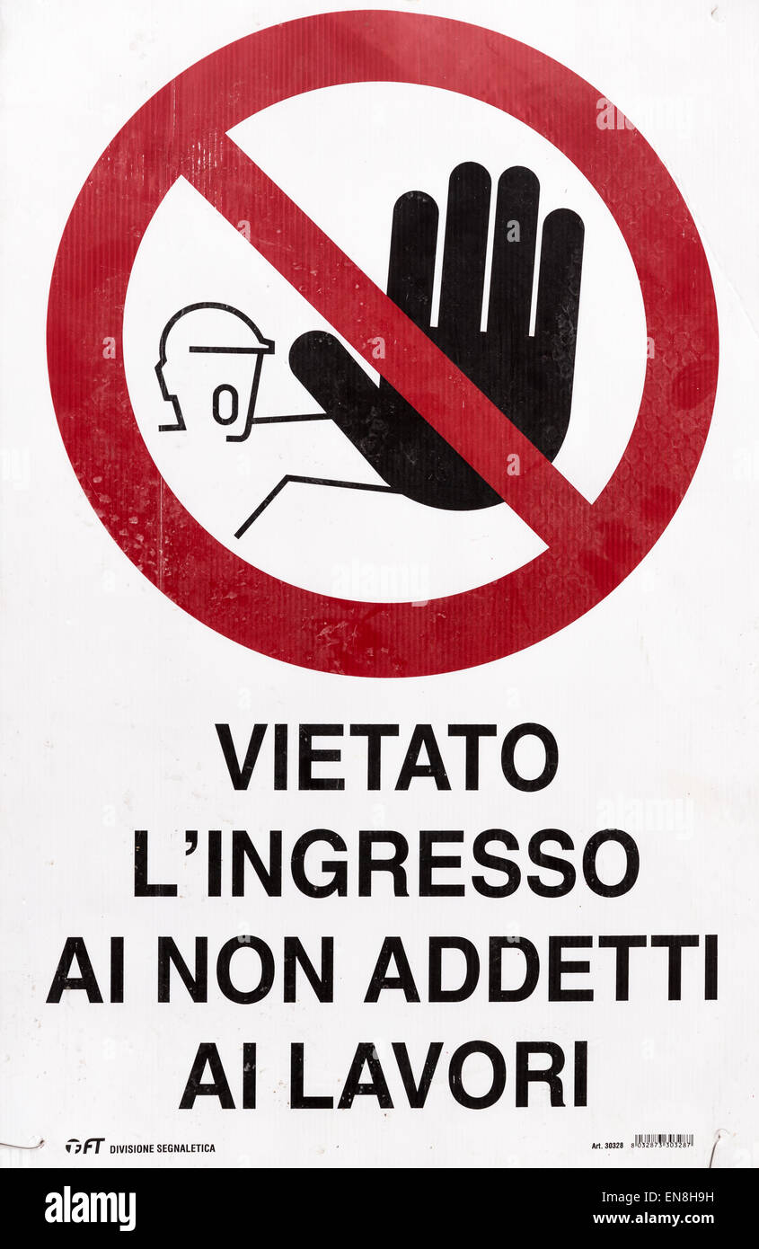 No entry sign, Italy - Stock Image