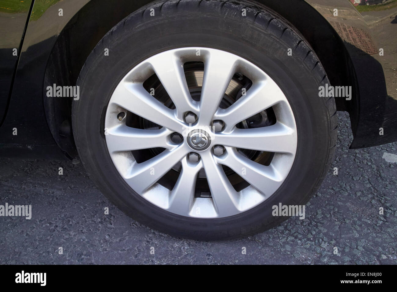 vauxhall alloy wheels on an mpv england uk - Stock Image