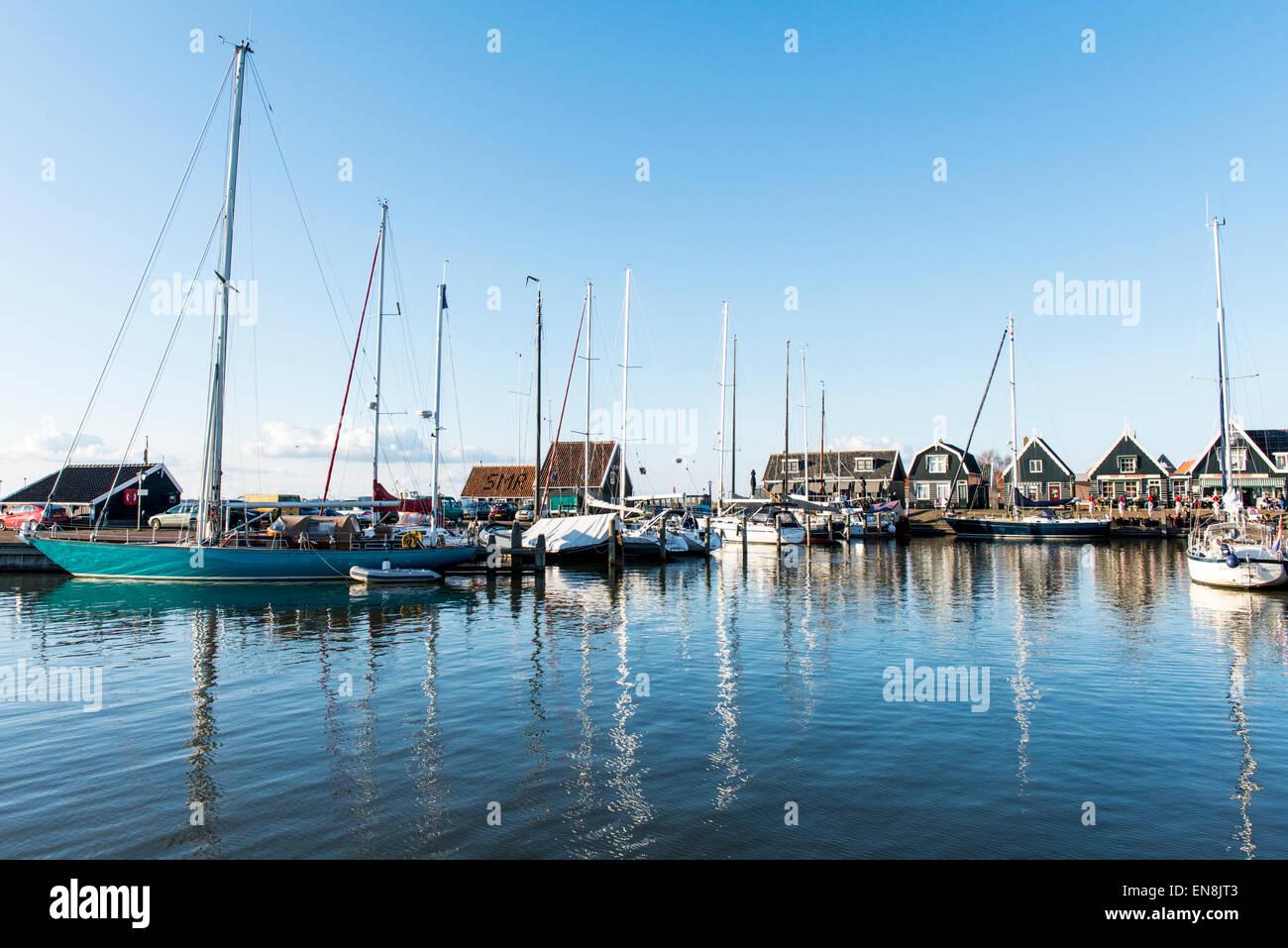 Marken harbour on the Markermeer, in the Netherlands - Stock Image