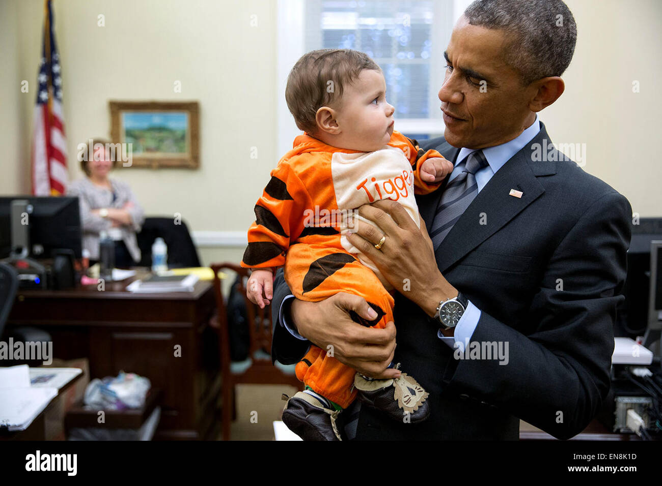 President Barack Obama stops by the Chief of Staff's office in the West Wing of the White House to visit with children Stock Photo