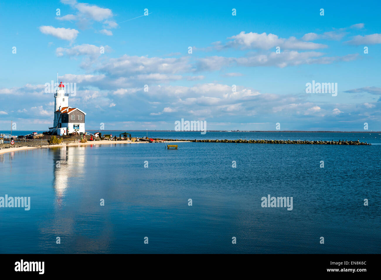 Marken lighthouse on the Markermeer, in the Netherlands - Stock Image