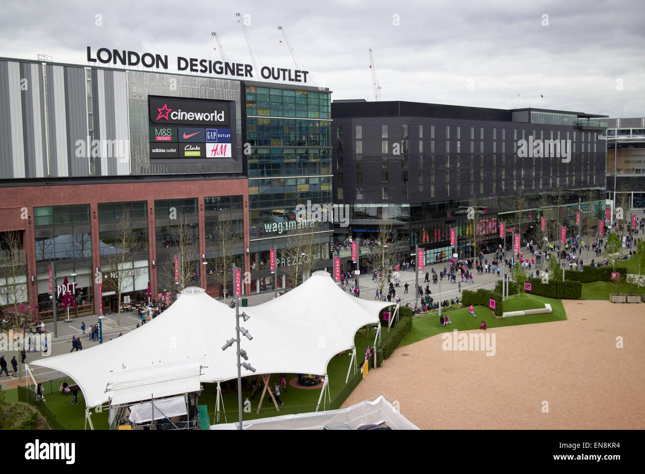 London designer outlet shopping mall centre and hilton hotel Wembley city London UK - Stock Image