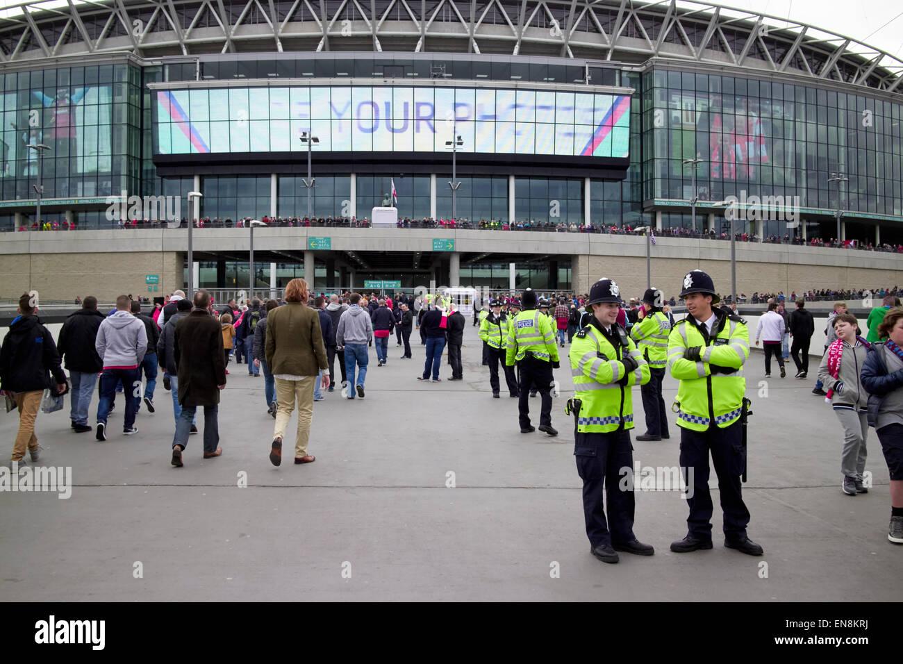 policing outside Wembley stadium on game day London UK - Stock Image