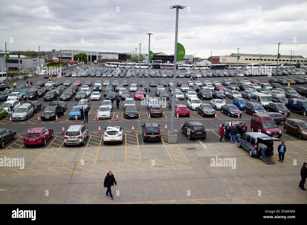 car park with disabled parking spots at Wembley stadium London UK - Stock Image