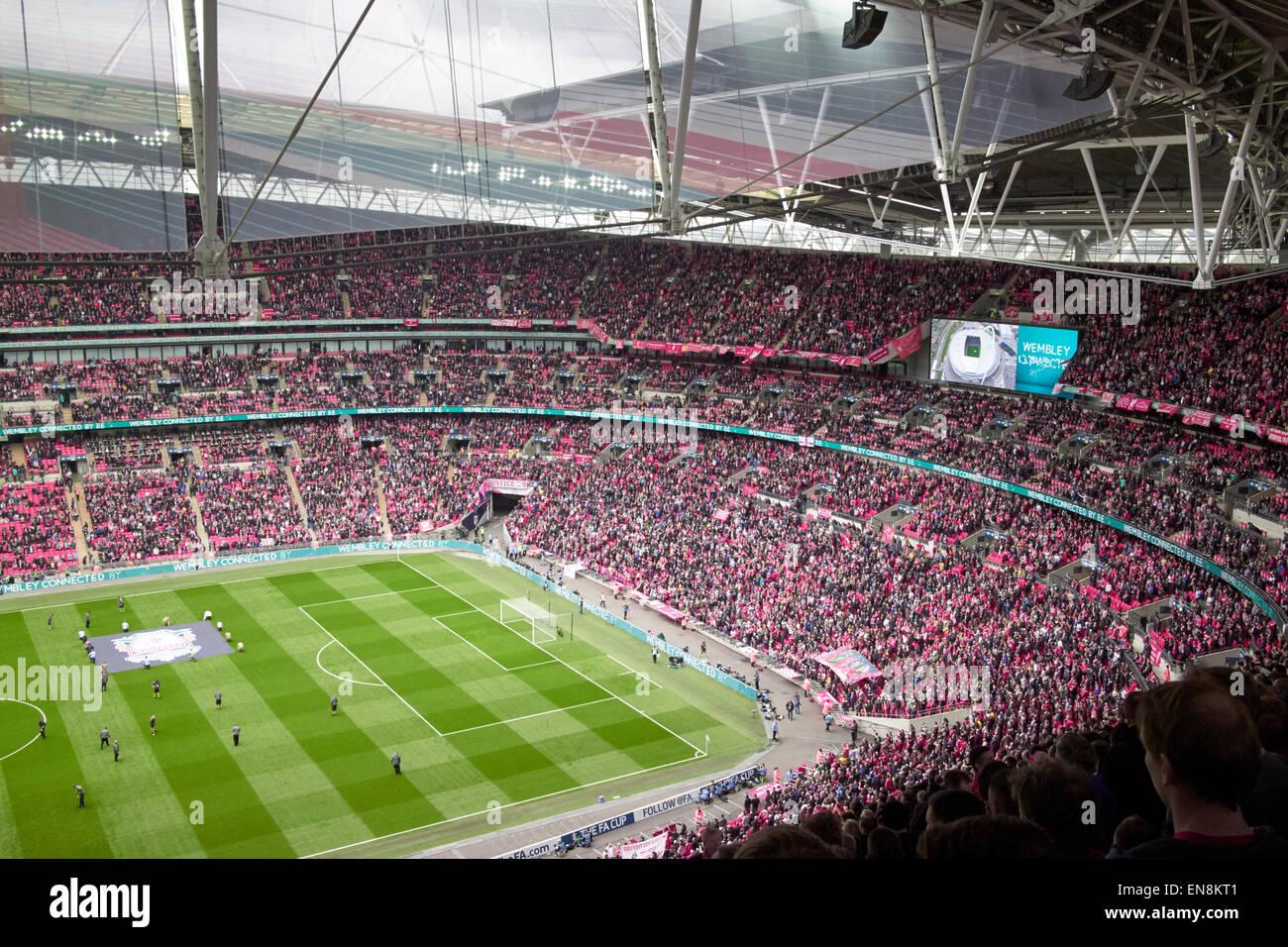 interior of Wembley stadium on match day London UK - Stock Image