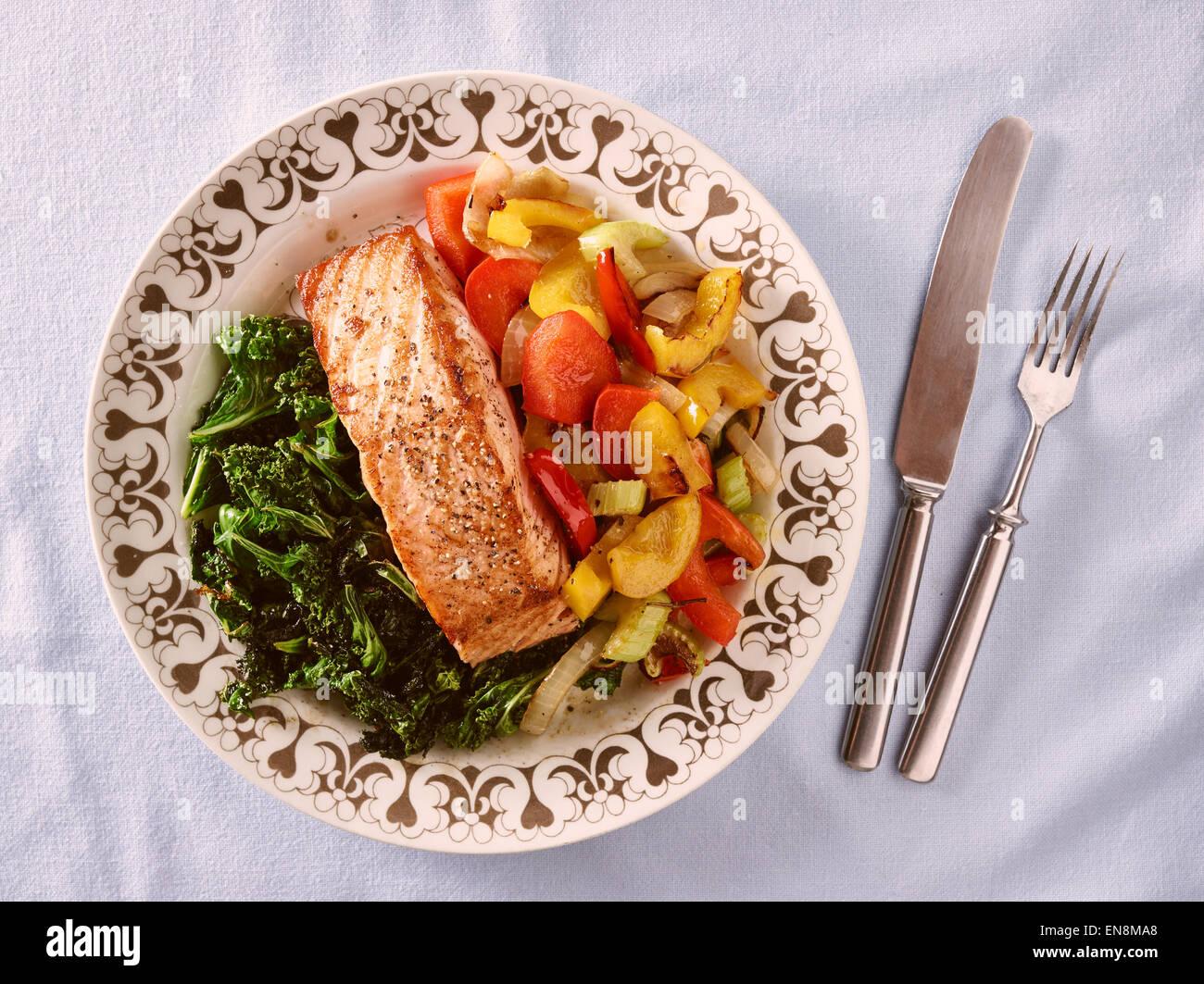 Food on dinner plate roast salmon and crispy kale and other vegetables & Food on dinner plate roast salmon and crispy kale and other Stock ...