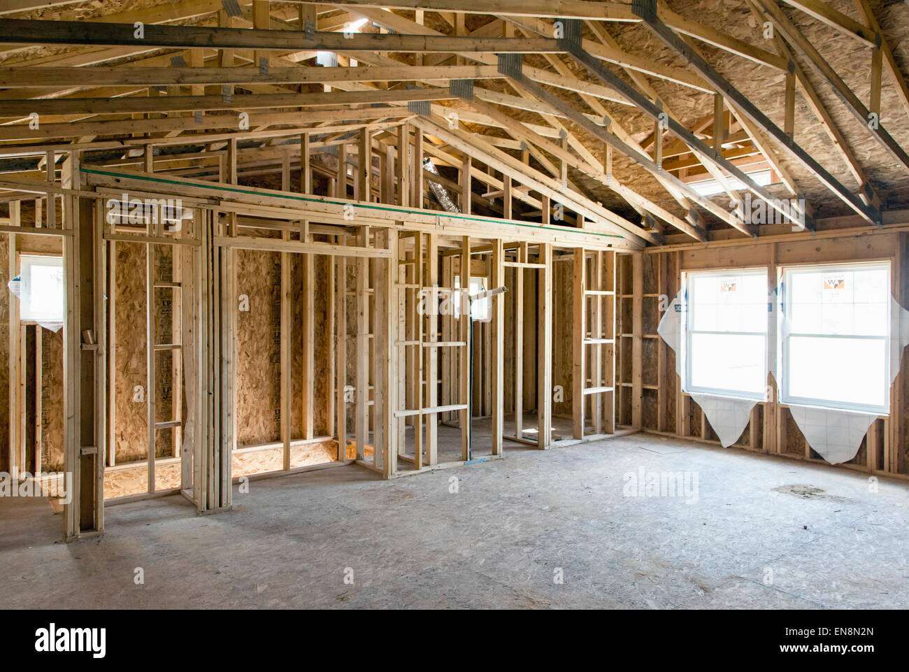 interior wall framing construction of a craftsman style residential