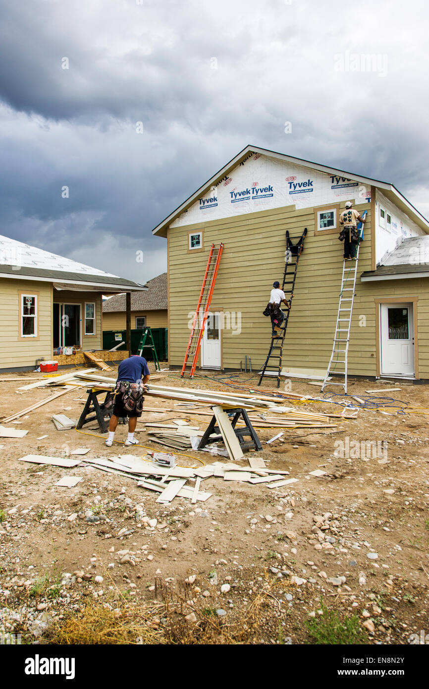 Exterior siding installation, construction of a Craftsman Style residential home in Colorado, USA - Stock Image