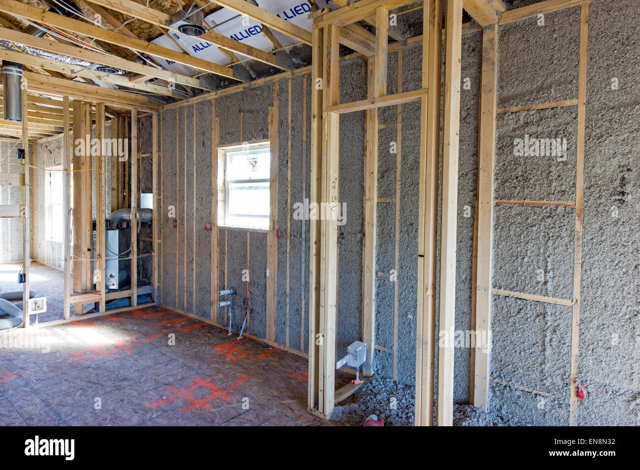Interior frame walls with blown in insulation construction of a Craftsman Style residential home in Colorado USA & Interior frame walls with blown in insulation construction of a ...