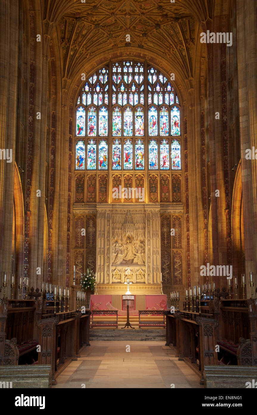 Church architecture. The magnificent medieval interior of Sherborne Abbey looking towards the High Altar and the - Stock Image