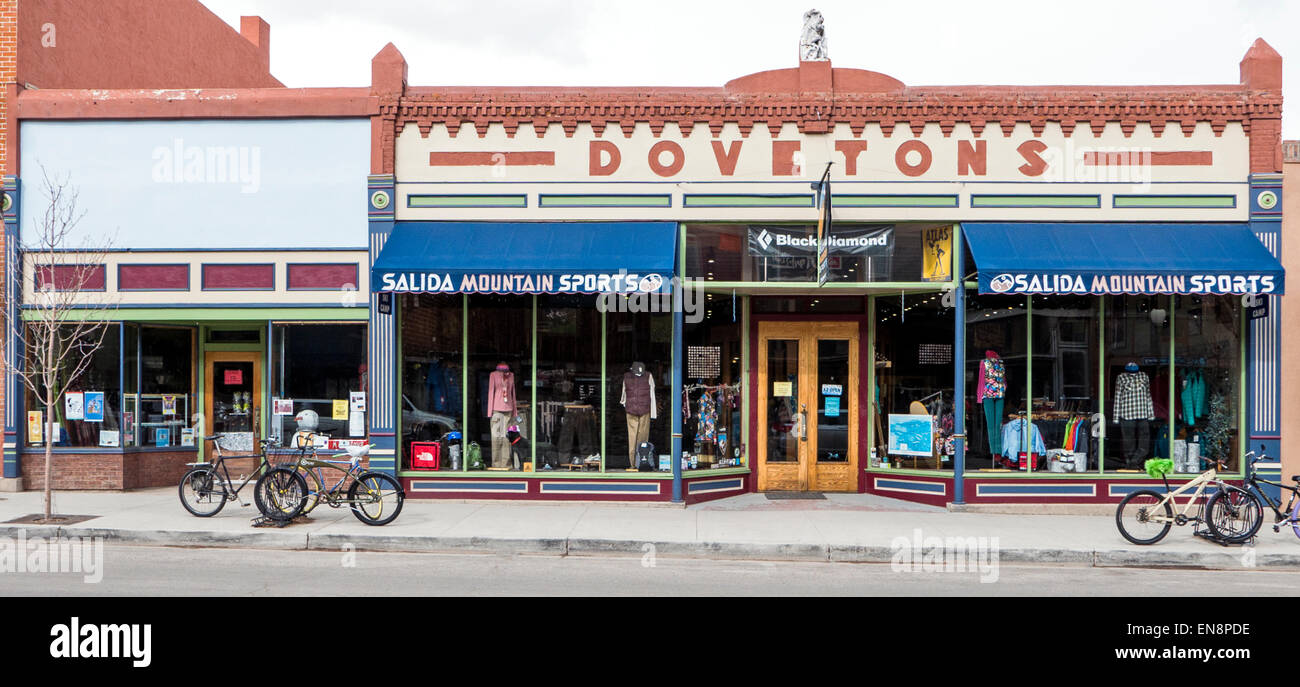 Exterior view of Salida Mountain Sports in downtown historic Salida, Colorado, USA - Stock Image
