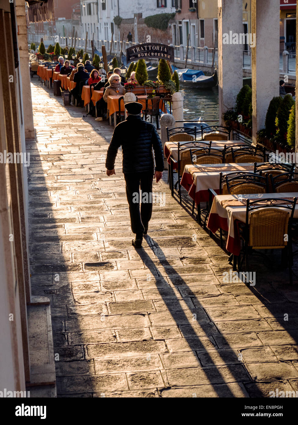 Tourists & locals walking cobblestone paths, Venice, Italy, City of Canals - Stock Image