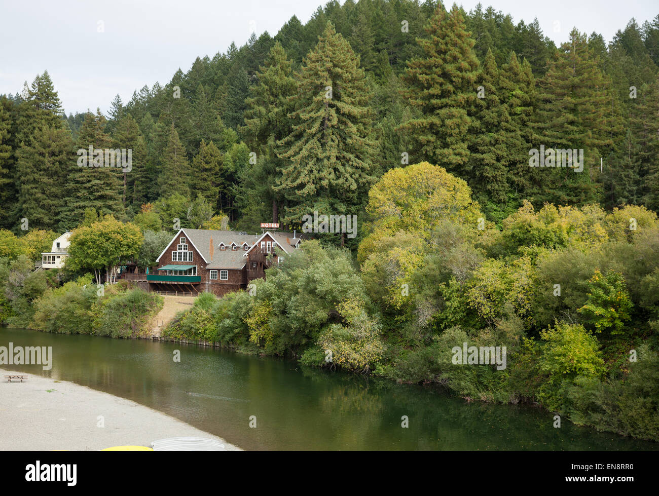 The Highland Dell Lodge on the Russian River in Monte Rio California. Stock Photo