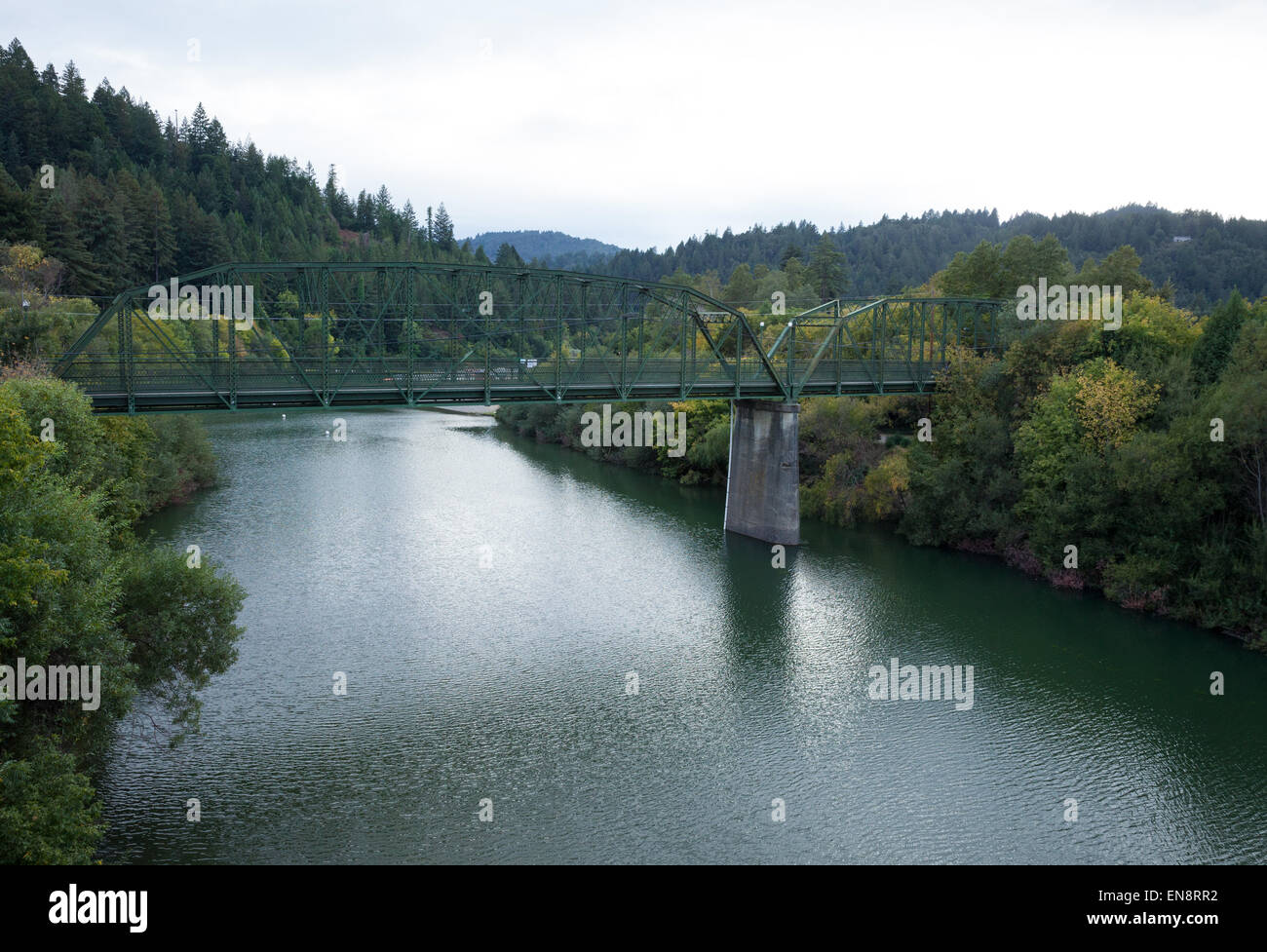 A Pedestrian Bridge across the Russian River in Guernville California. - Stock Image