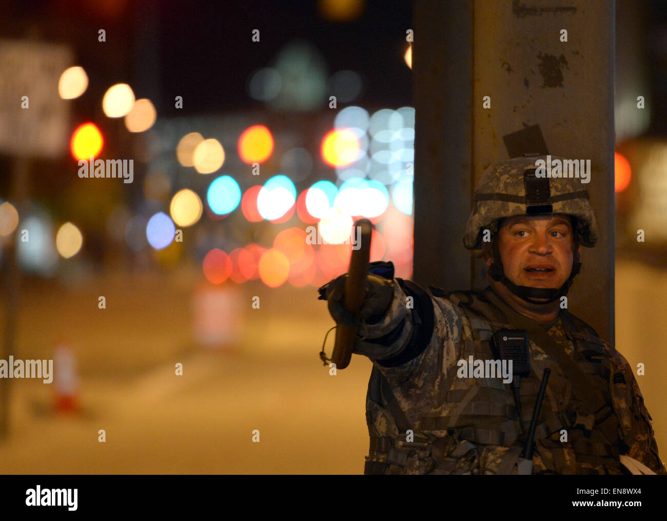 Baltimore, USA. 29th Apr, 2015. A soldier of national guard gestures during a curfew in Baltimore, Maryland, the - Stock Image