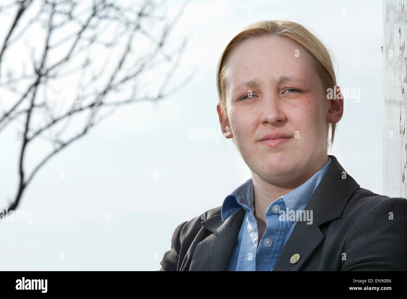 Mhairi Black, the 20 year-old SNP candidate for Paisley and Renfrewshire South who is challenging Labour's Douglas - Stock Image