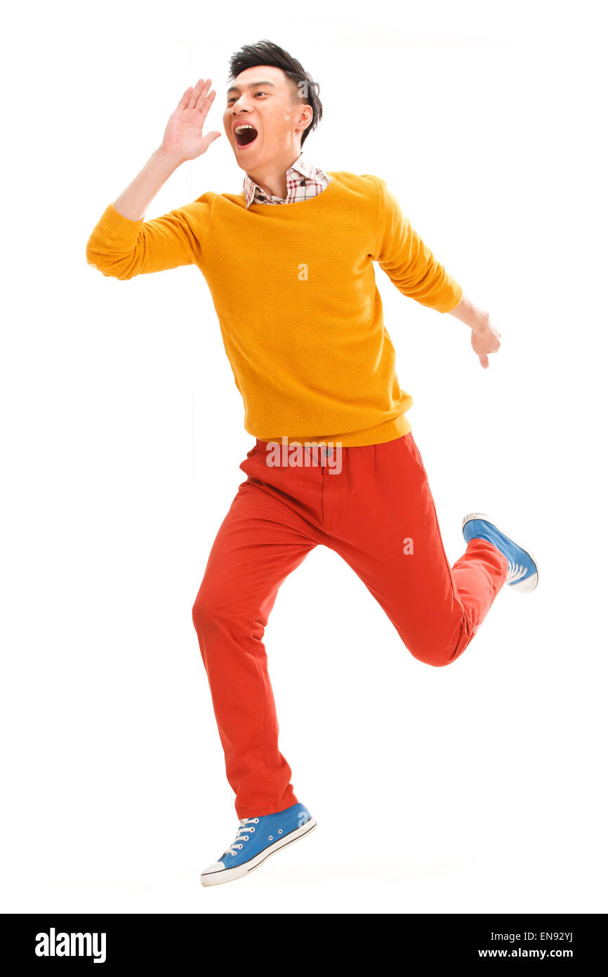Young guy shouting - Stock Image
