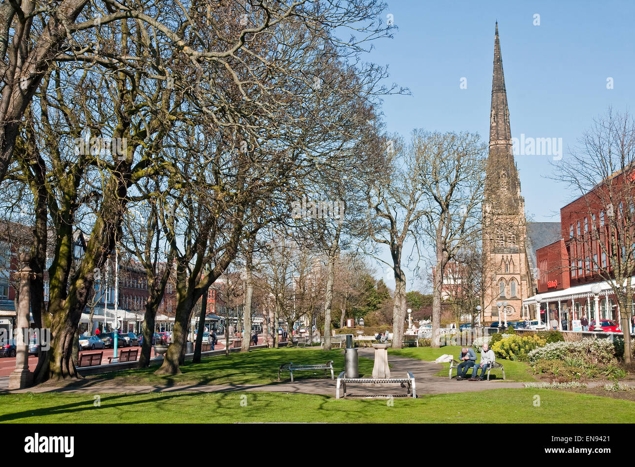 Part of the Memorial Gardens in Lord Street, Southport. Lord Street is Merseyside's most fashionable shopping street Stock Photo