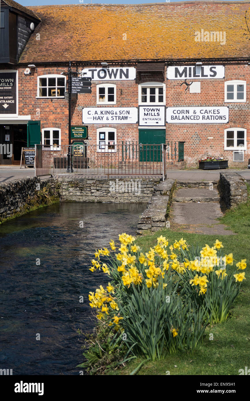 England, Hampshire, Andover, Town Mills & River Anton - Stock Image