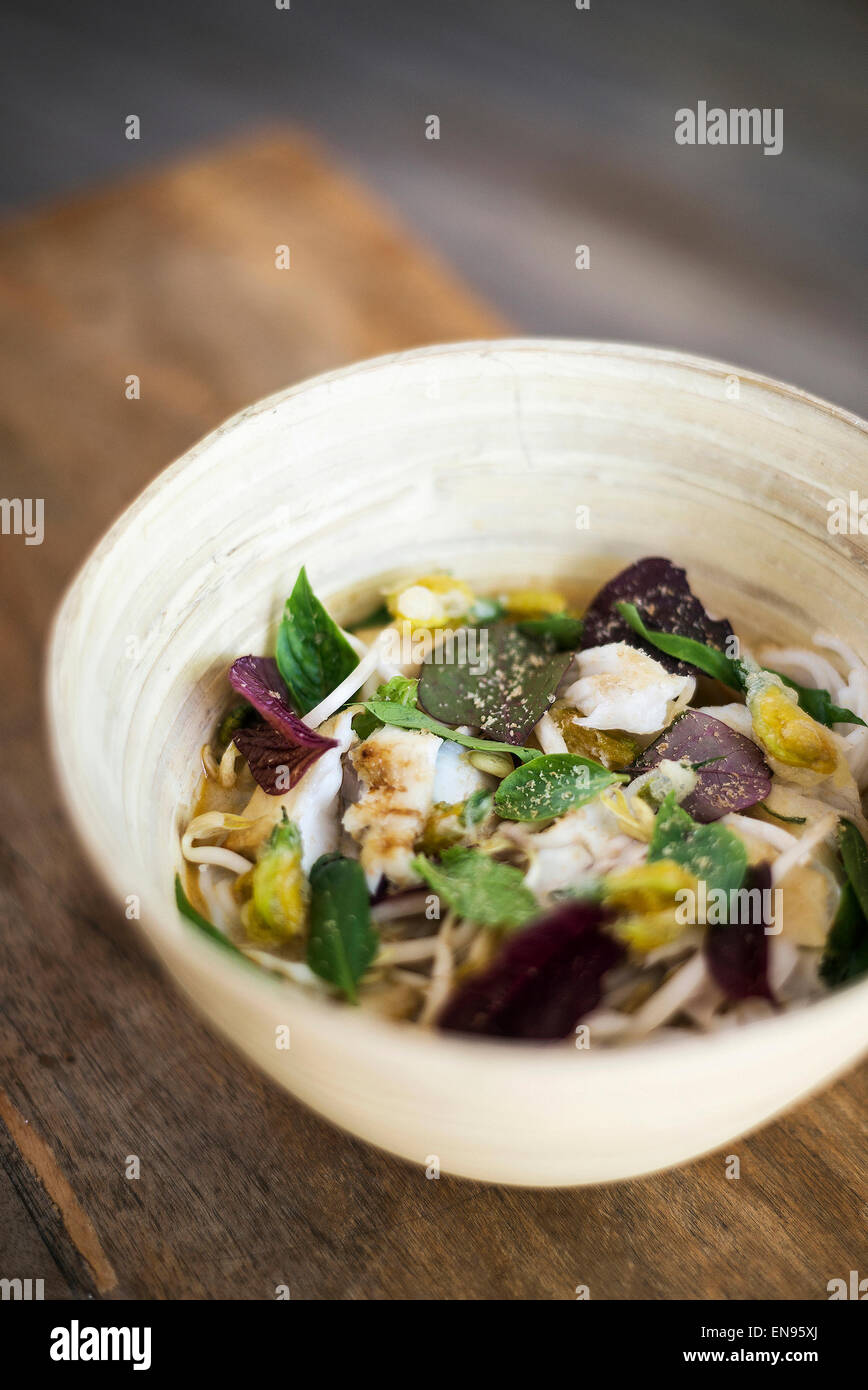 thai jungle curry fish soup with noodles - Stock Image