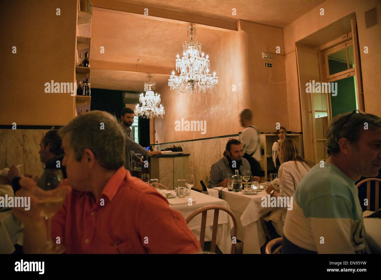 Pap' Acorda Restaurant Dining Interior in Bairro Alto in Lisbon - Portugal - Stock Image