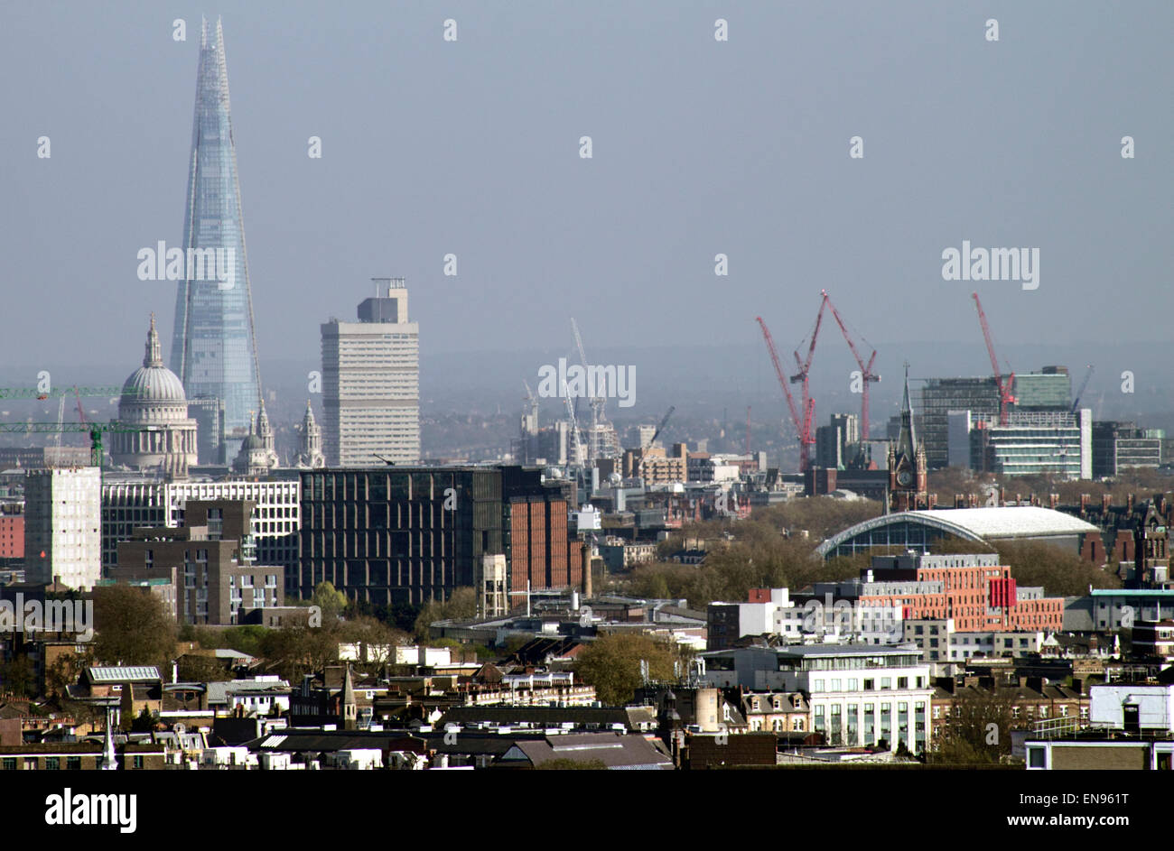 London skyline and the Shard view from Parliament Hill Hampstead Heath April 2015 - Stock Image