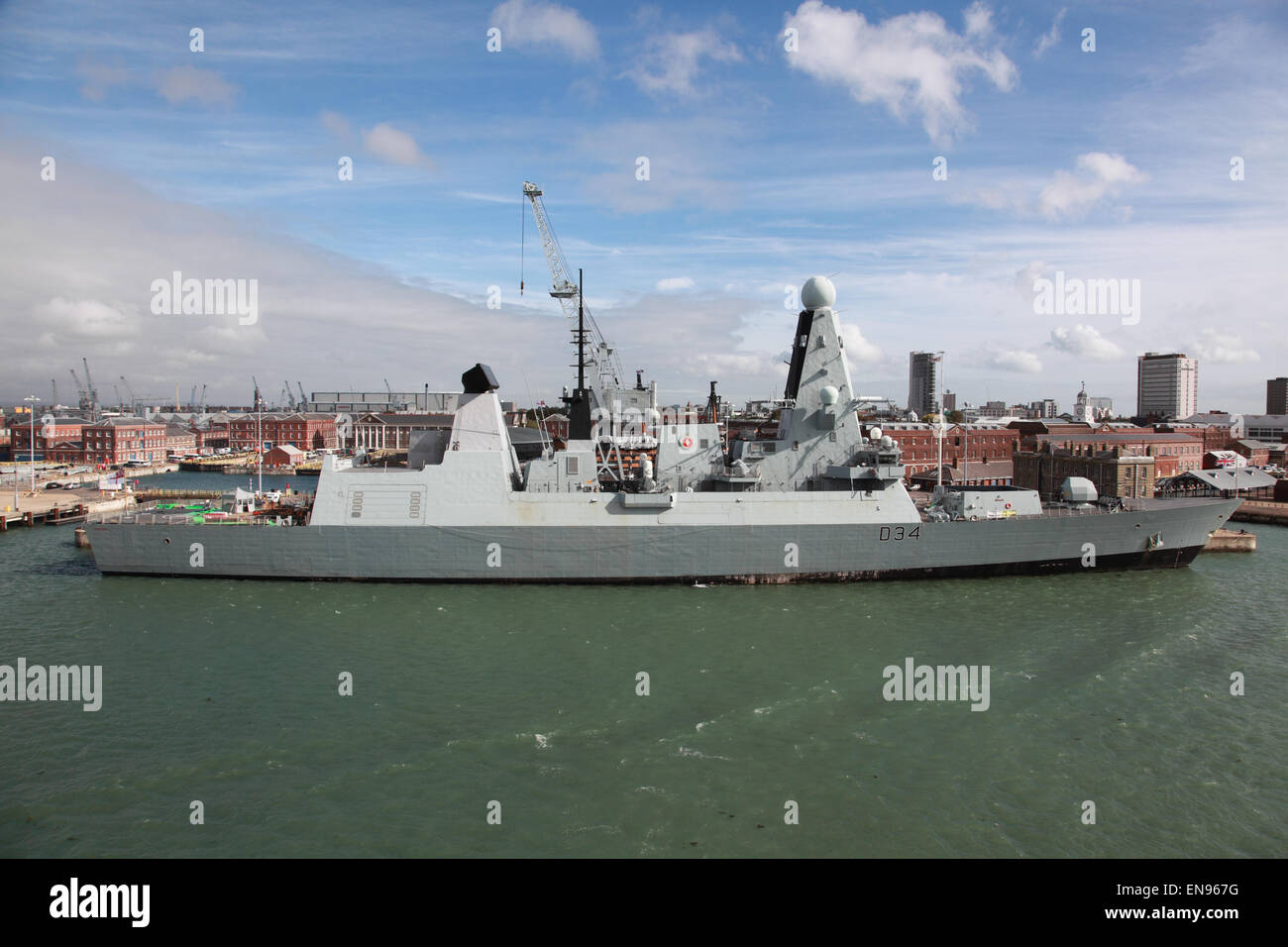 D34 HMS Diamond in Portsmouth Harbour, Hampshire, England, UK - Stock Image