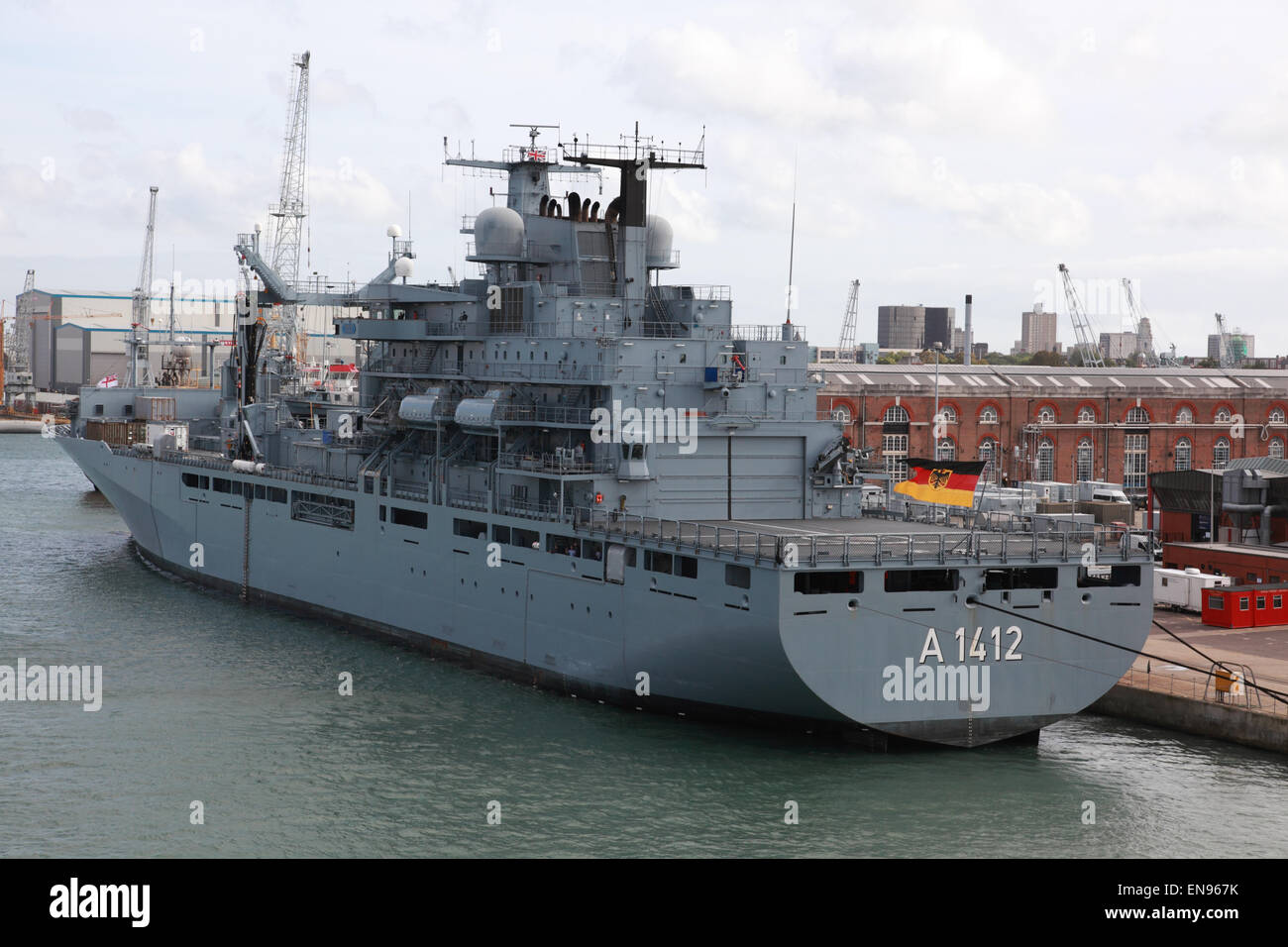 A 1412 Type 702 Berlin class replenishment ship of the German navy in Portsmouth harbour, Hampshire, England, UK - Stock Image