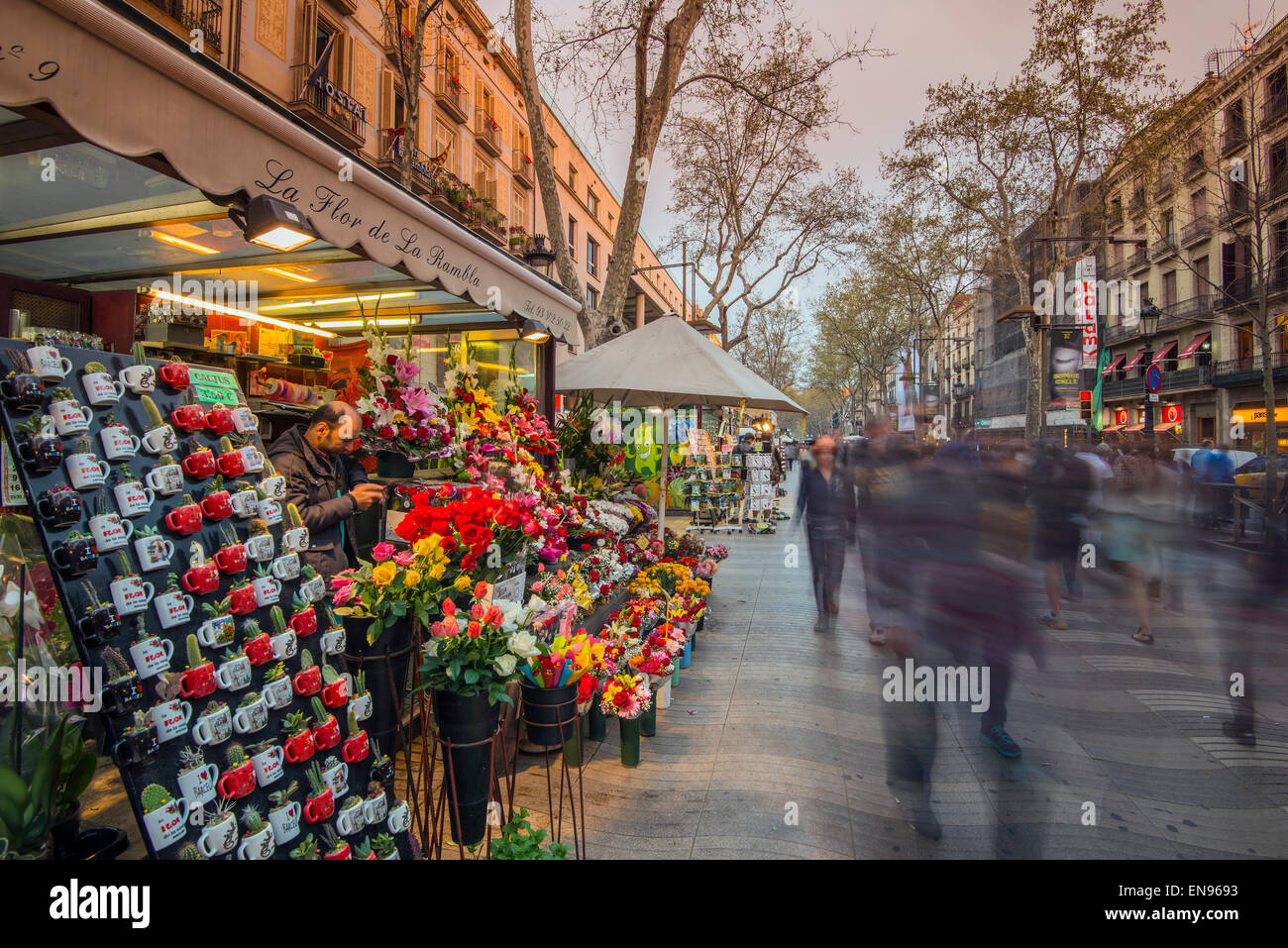 Florist's kiosk on La Rambla, Barcelona, Catalonia, Spain - Stock Image