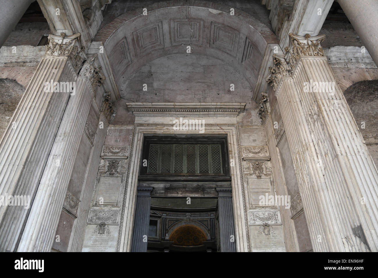 Italy. Rome. Pantheon. Roman temple. 2nd century AD. Under the portico. - Stock Image