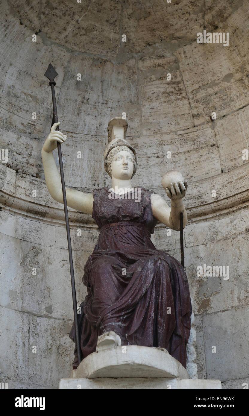Italy. Rome. Campidoglio. Statue Minerva, the roman goddess. - Stock Image