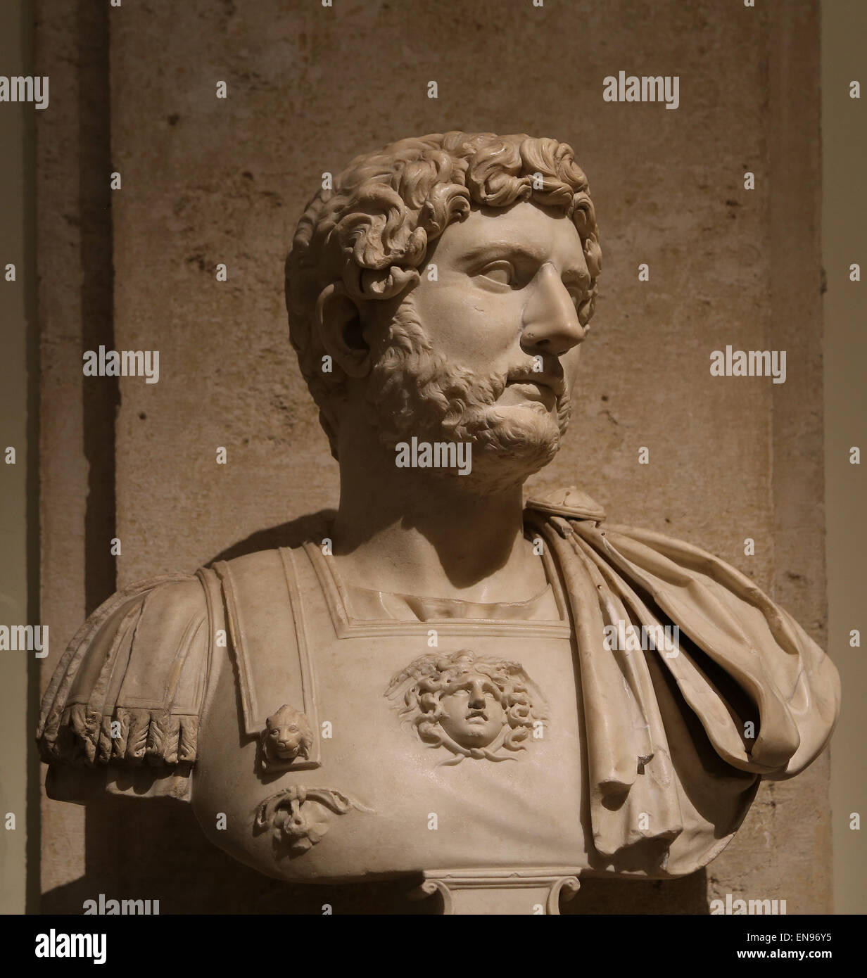 Bust of roman emperor Hadrian in lorica. Marble. 117-138 AD. Capitoline Museums. Rome. Italy. - Stock Image