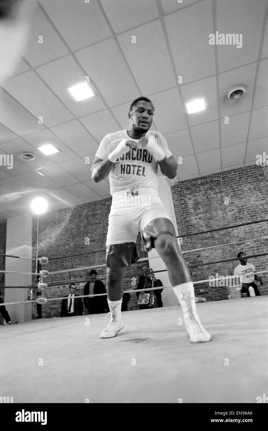 World Heavyweight Champion, Joe Frazier seen here training during a press conference in the run up to his fight - Stock Image