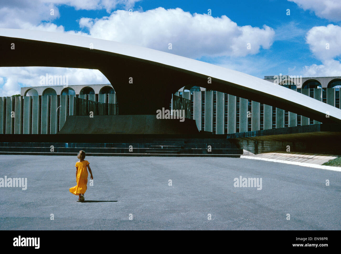 Brazil, Brasilia, the Ministry of Defence with the hilt-shaped entry - Stock Image