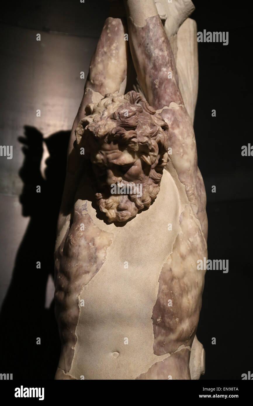 Statue of Satyr Marsyas. From the Gardens of Maecenas (Horti Mecenate). Capitoline Museums. Rome. Italy. - Stock Image