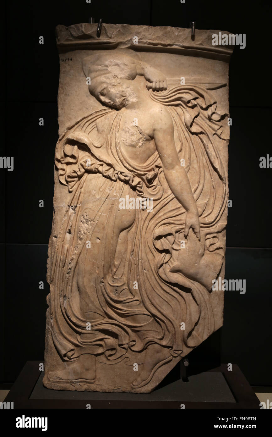Relief with dancing Maenad. Marble. Roman copy. From Piazza Vittorio Emanuele. Rome. Capitoline museums. Rome. Italy. Stock Photo