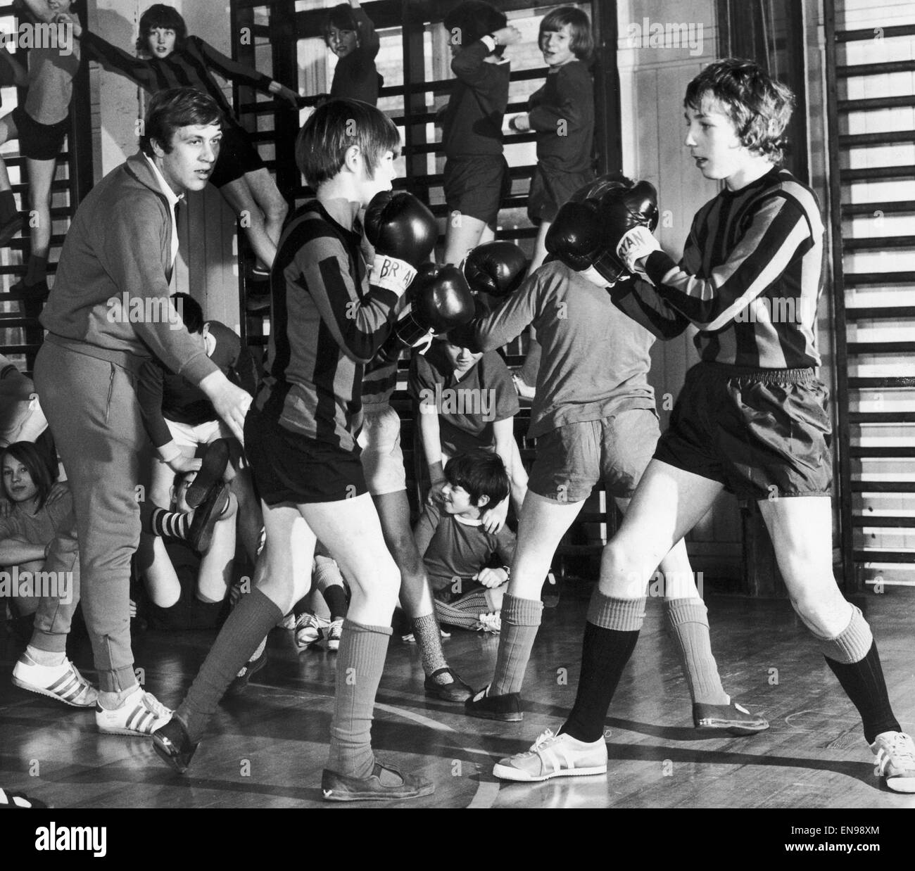 Schoolboy boxers being cheered on at Horden Secondary modern school in Newcastle. 20th January 1972. - Stock Image