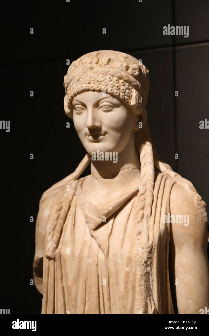 Herm of a Caryatid. Marble. Archaistic-style. Augustan age. From Horti Maecenatiani. Rome. Capitoline Museums. Rome. - Stock Image