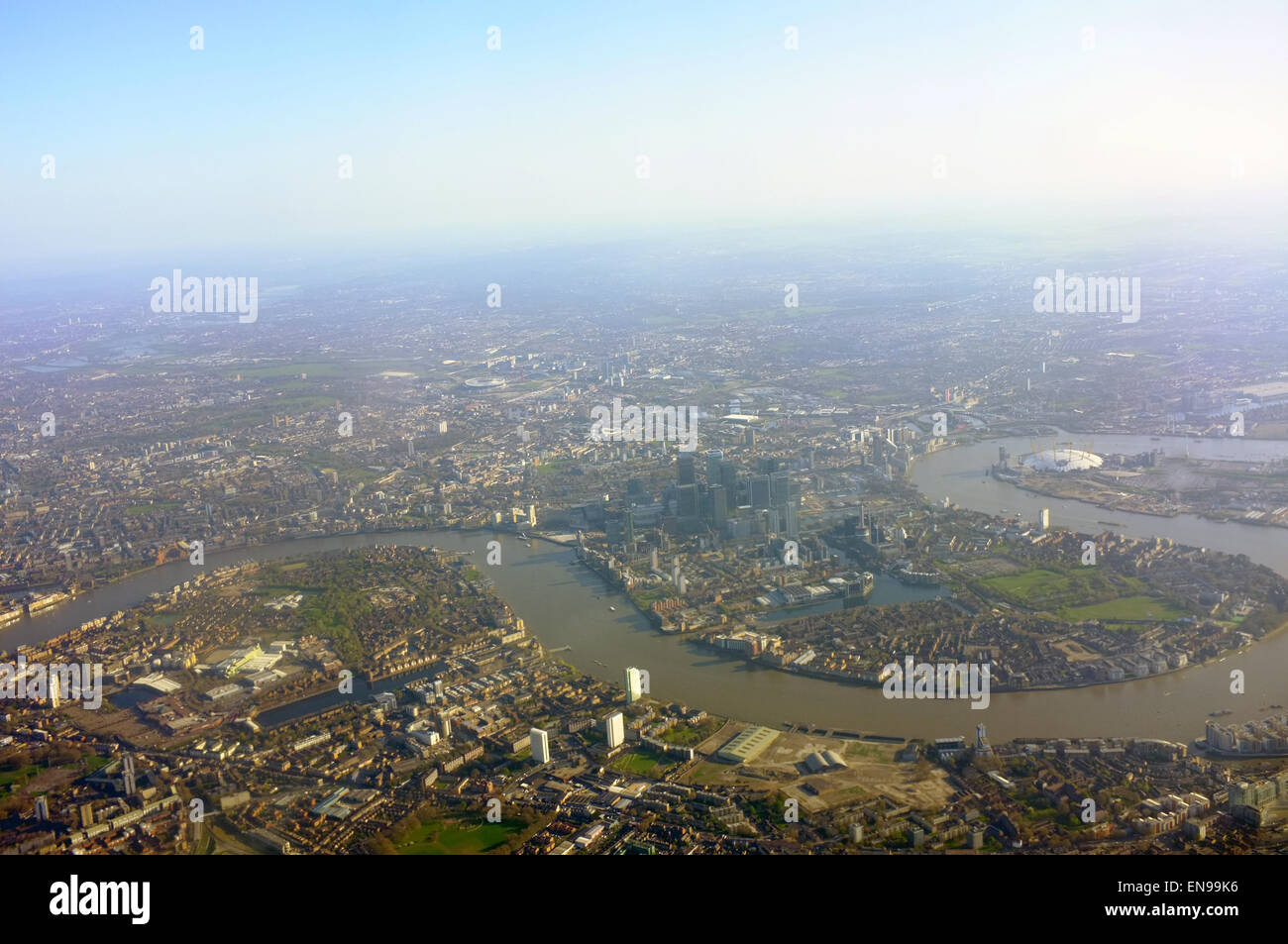 An aerial view of London taken from an aircraft approaching to land at Heathrow Airport. - Stock Image