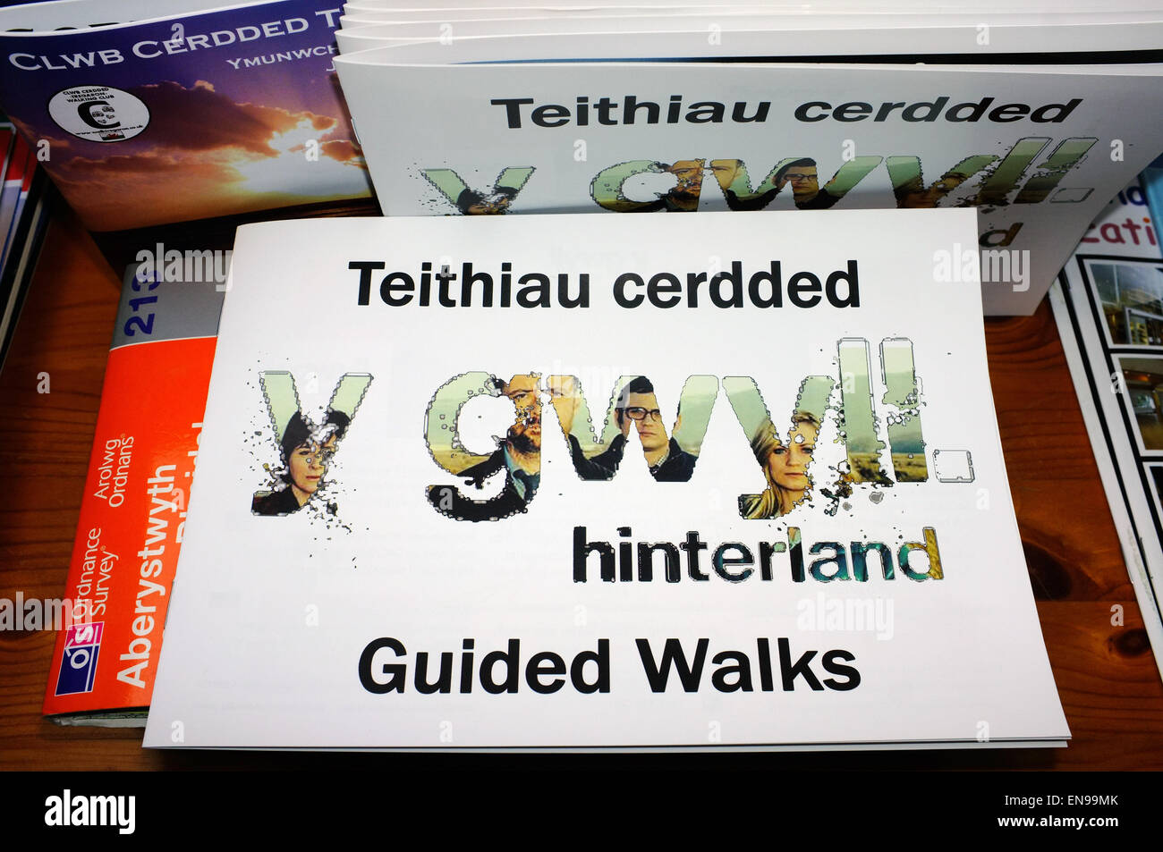A Hinterland Guided Walks booklet in a Welsh B&B. - Stock Image