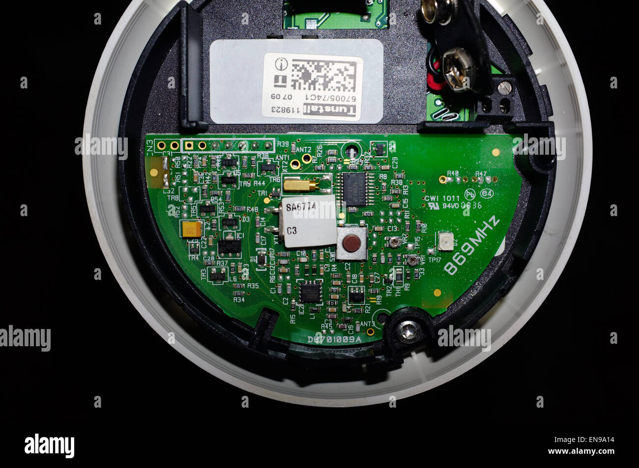 Fire Alarm Circuit Stock Photos Images Fridge Door Diagram The Exposed Boards And Wiring Inside A Smoke Detector Image