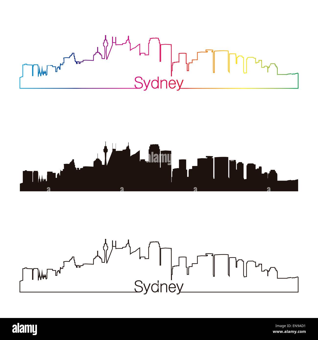 Sydney V2 skyline linear style with rainbow - Stock Image