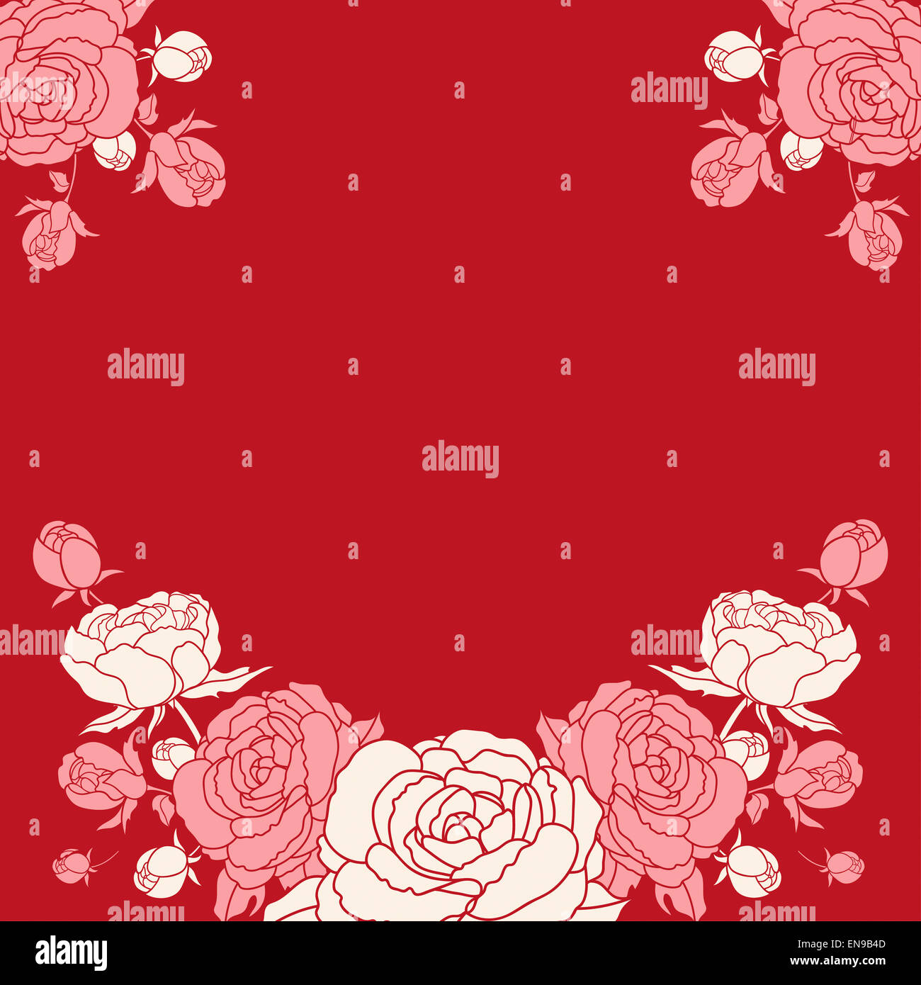 Invitation card with peonies on vinous background. Floral element ...