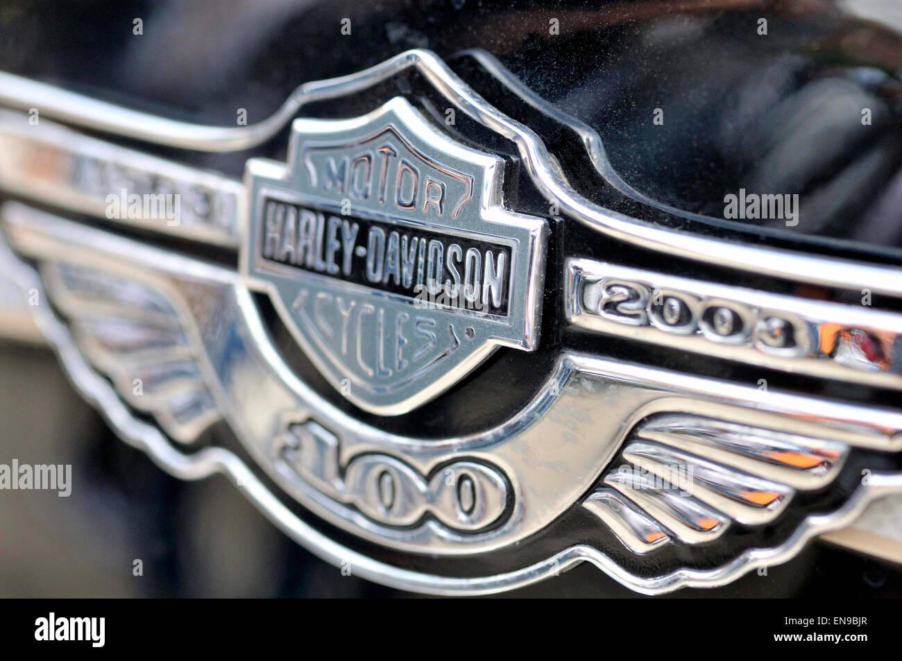 Harley davidson motorcycle logo detail stock photo 81955967 alamy harley davidson motorcycle logo detail voltagebd Gallery
