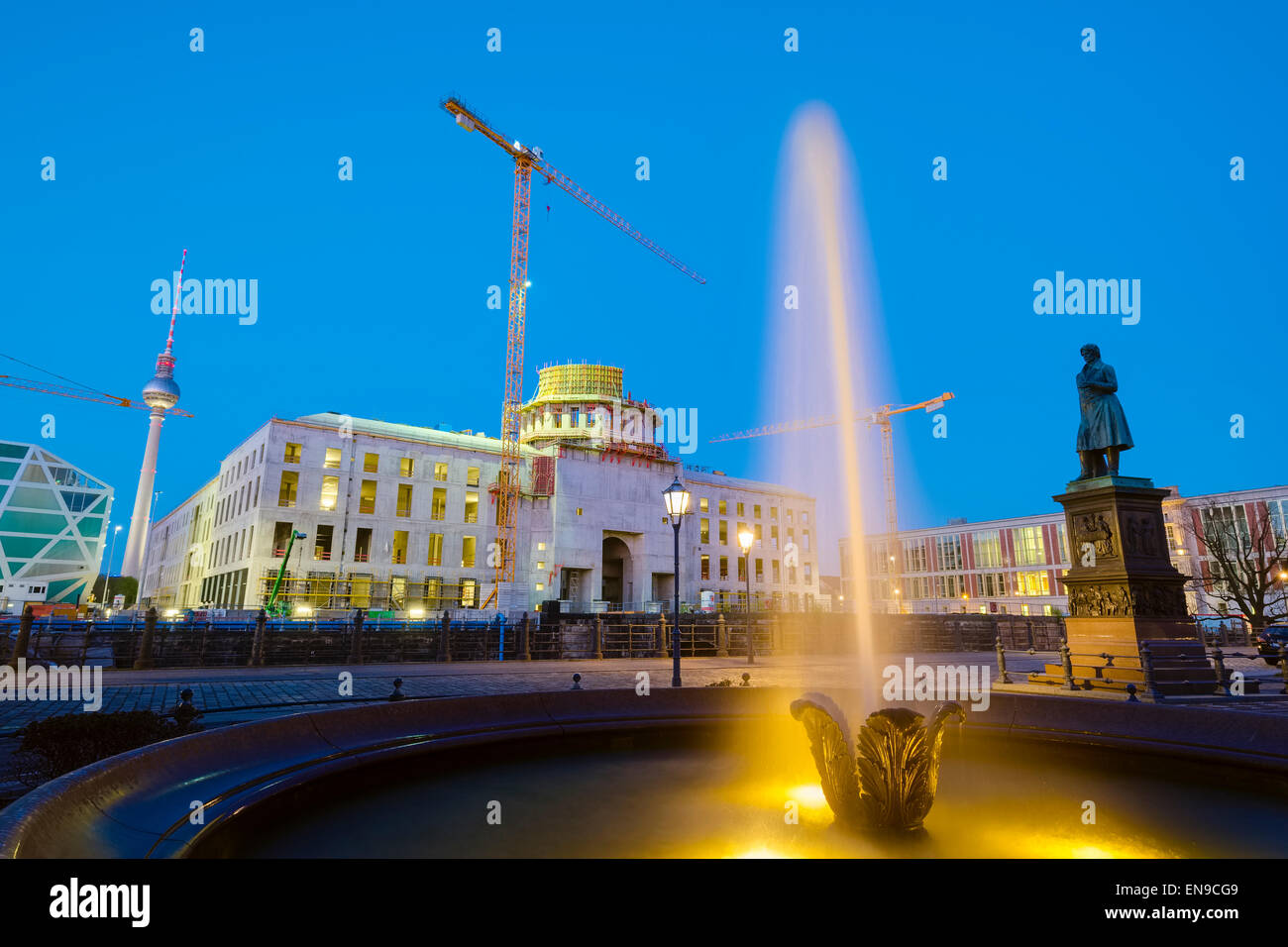 Fountain in front of building site Berlin Palace, Berlin, Germany Stock Photo