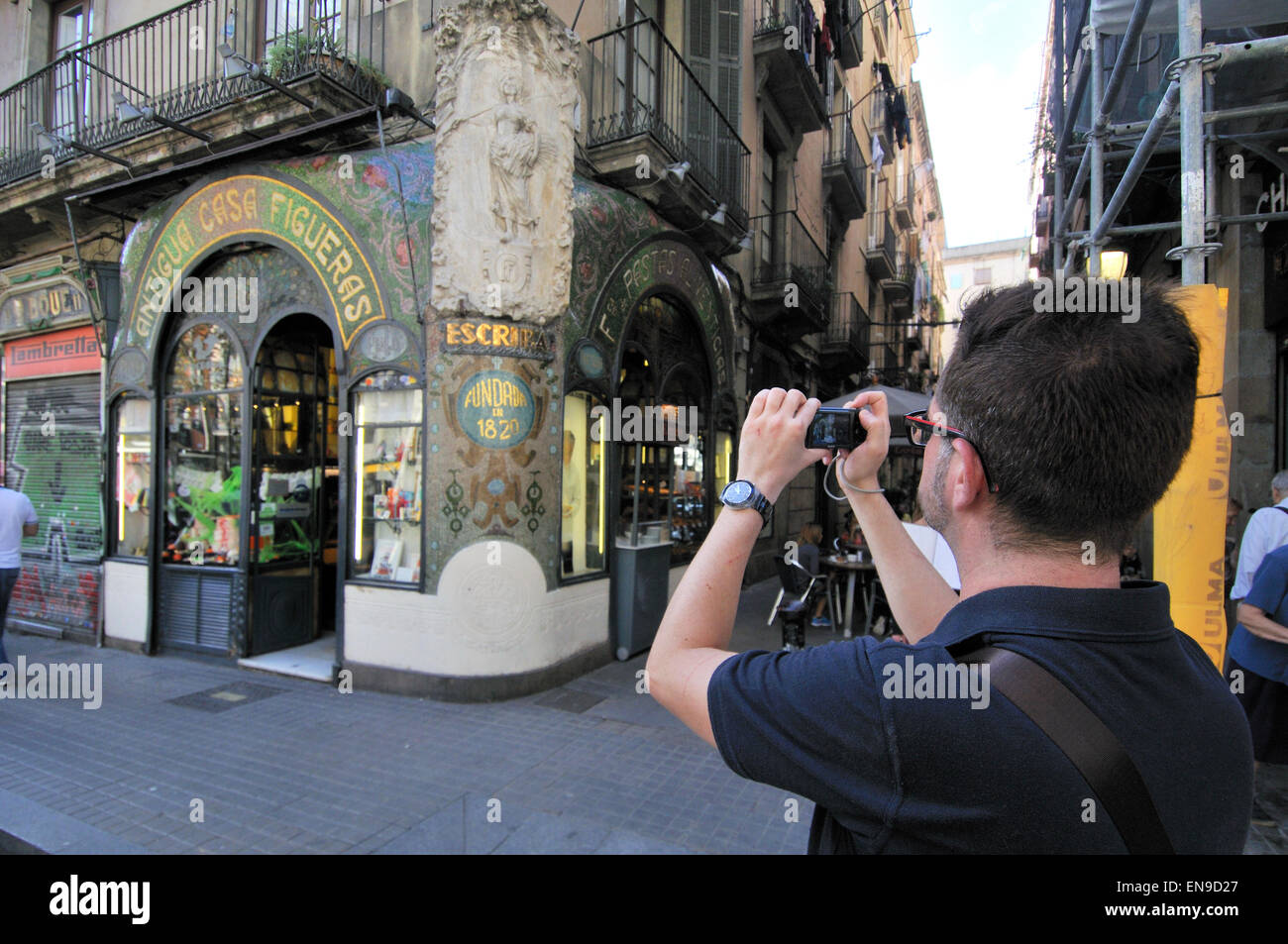 Escriba pastry shop at La Rambla Barcelona, Catalonia, Spain - Stock Image