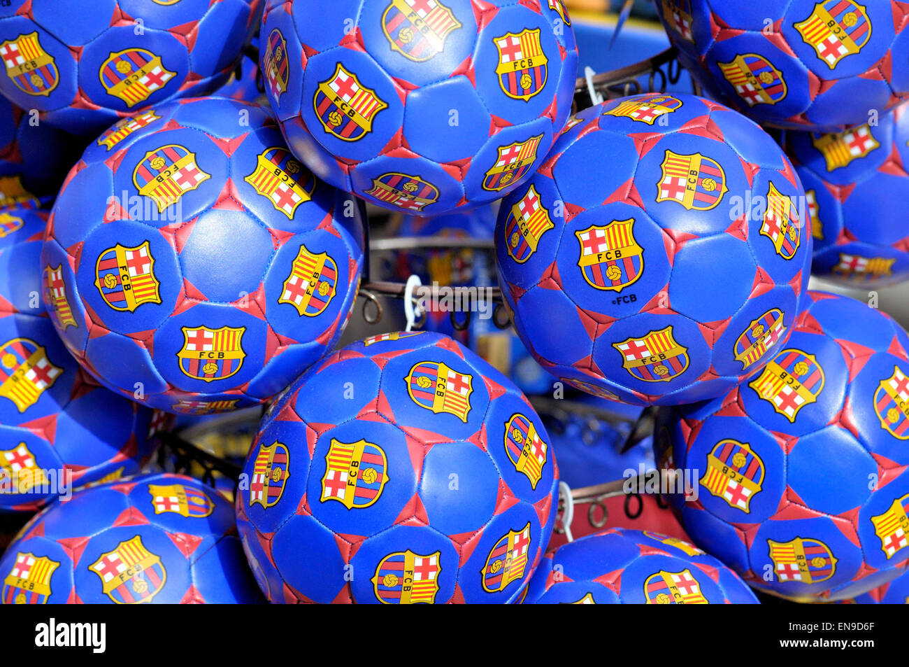 Soccer balls with logo of Football Club Barcelona - Stock Image